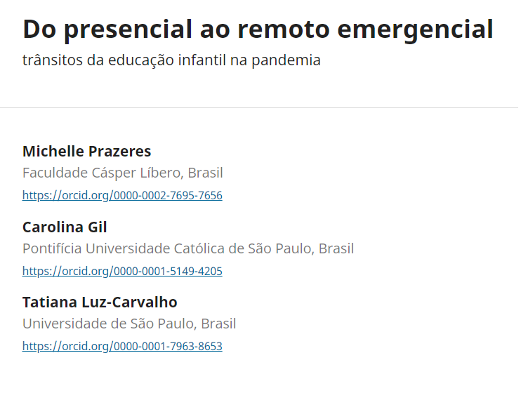 Artigo científico – Do presencial ao remoto emergencial: trânsitos da educação infantil na pandemia